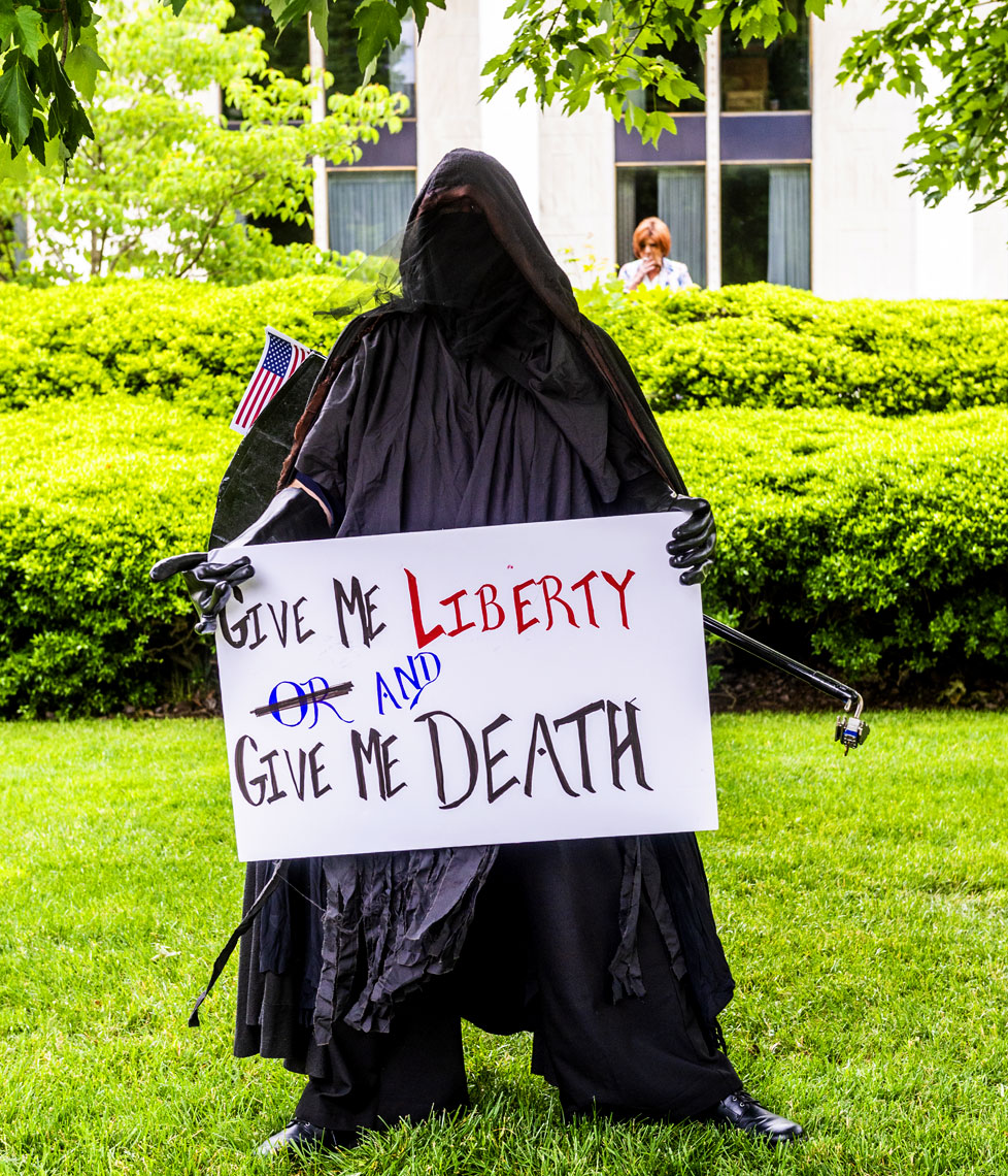 Raleigh Editorial Photography ReOpen NC Bryan Regan  grim reaper