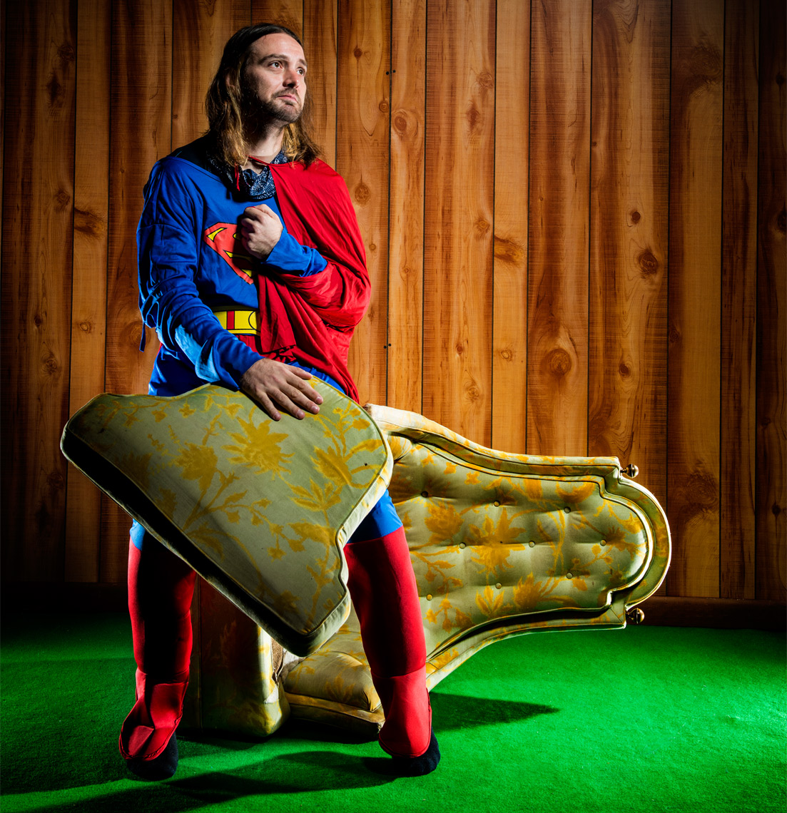 Superman in the house Raleigh portrait photography