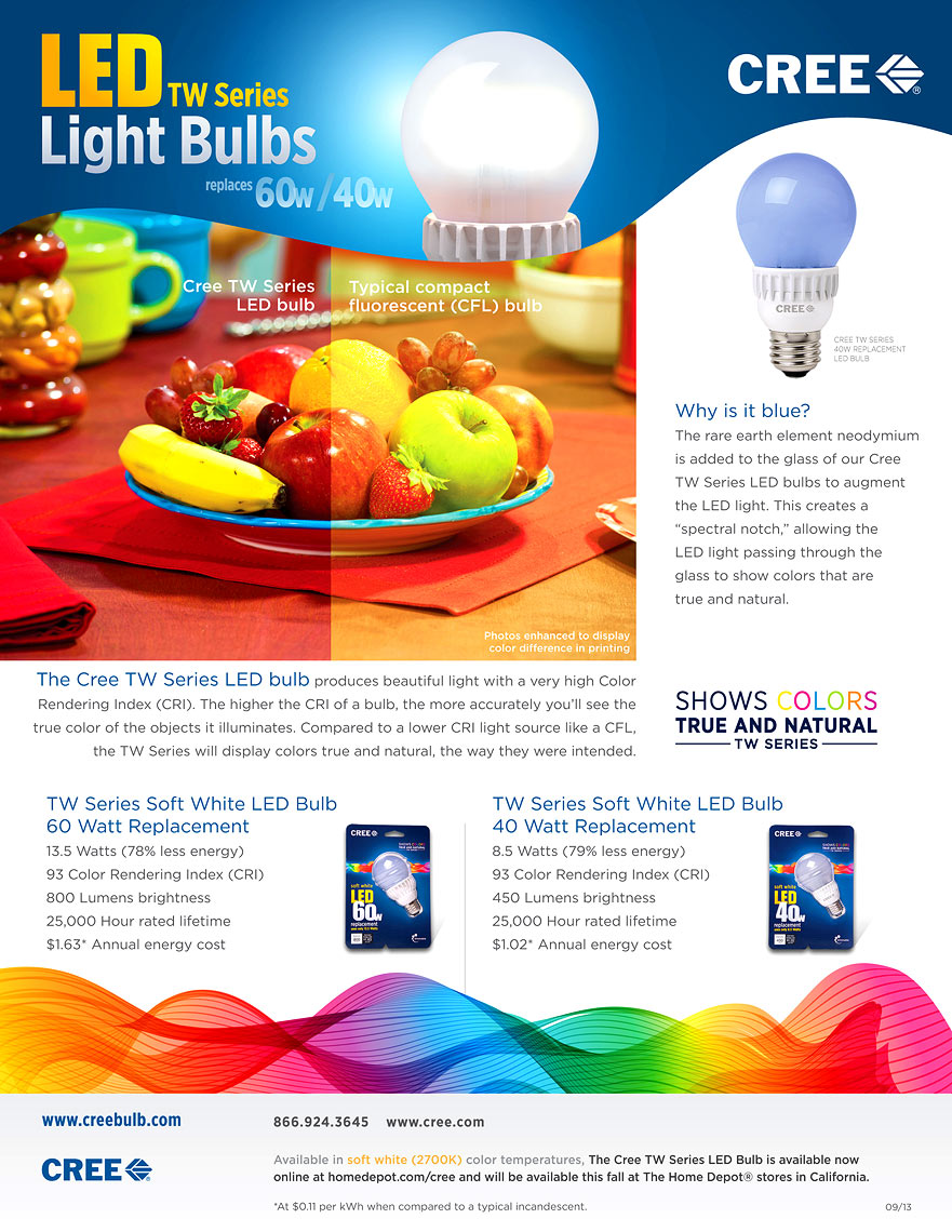 Cree HCRI LED bulb tear sheet