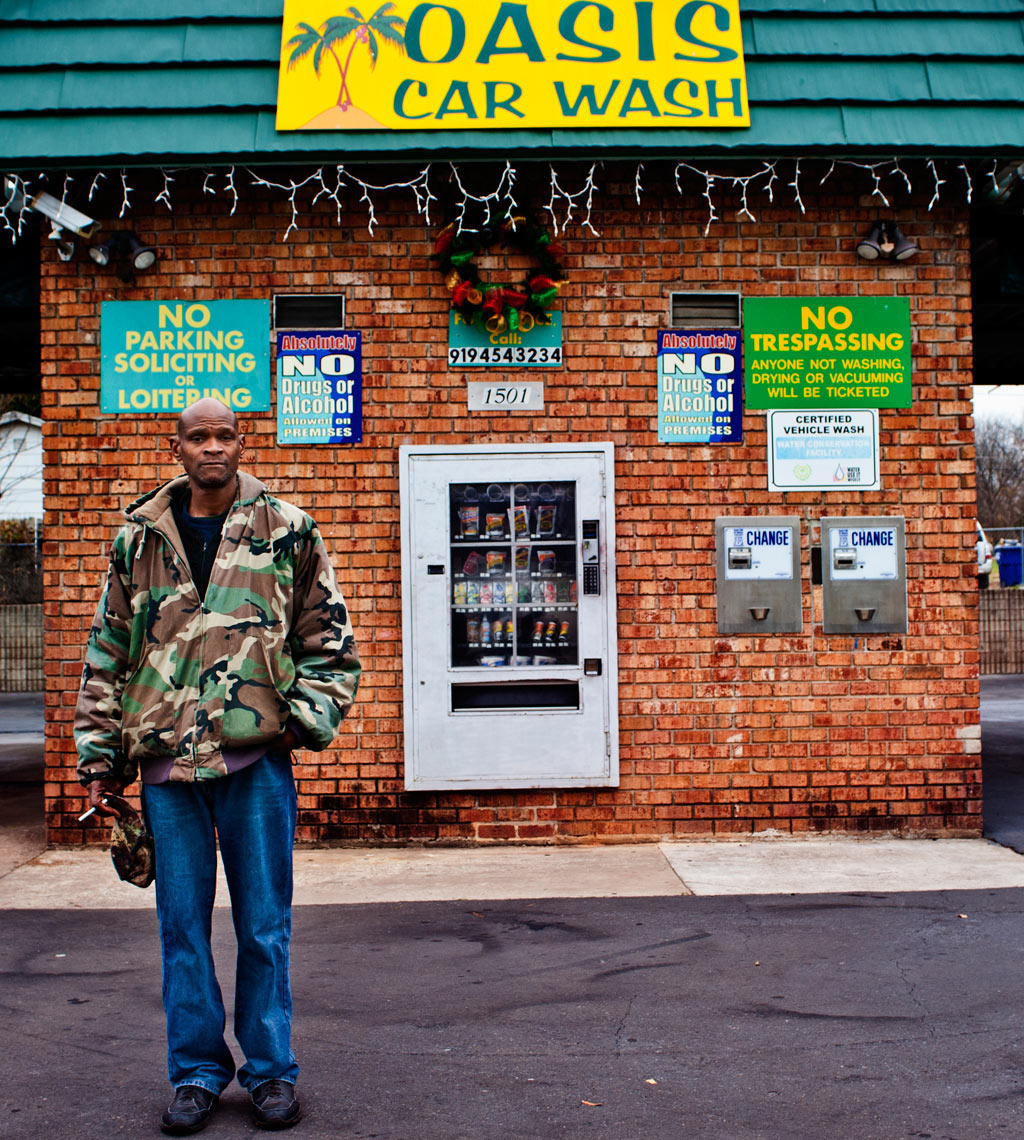 Working at the car wash Raleigh portrait photography