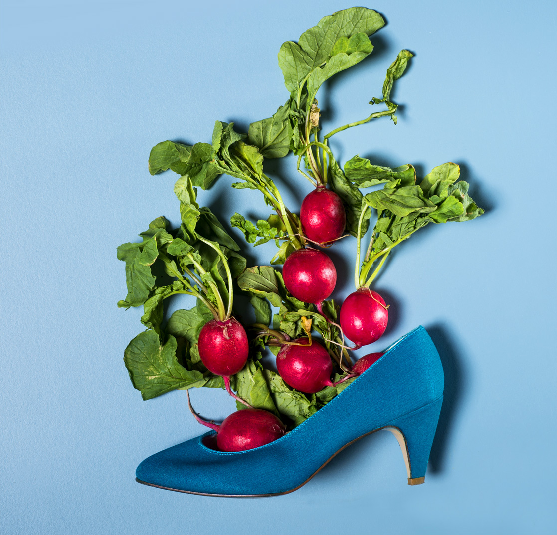 still life radish in blue shoes Raleigh product photography